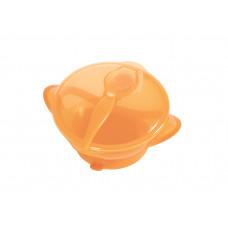 Тарелка на присоске с крышкой и ложкой Baby team, 290 мл, 6+, арт. 6002 (оранжевая)