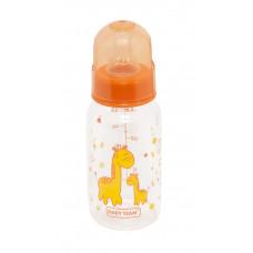 Бутылочка для кормления стеклянная с силиконовой соской Baby team, 150 мл, 0+, арт. 1200 (Оранжевая)