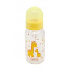 Бутылочка для кормления стеклянная с силиконовой соской Baby team, 150 мл, 0+, арт. 1200 (Желтая)