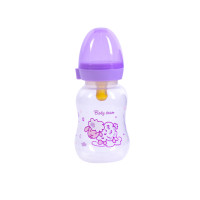 Бутылочка для кормления с латексной соской Baby team, 125 мл, 0+, арт. 1300 (фиолетовая)