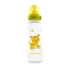 Бутылочка для кормления с латексной соской Baby team, 250 мл, 0+, арт. 1310 (Зеленая)