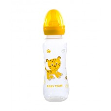 Пляшечка для годування з латексною соскою Baby team, 250 мл, 0 +, арт. 1310 (Жовта)