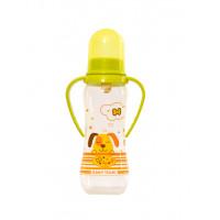 Бутылочка для кормления с латексной соской и ручками Baby team, 250 мл, 0+, арт. 1311 (Зеленая)