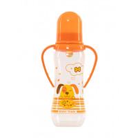 Бутылочка для кормления с латексной соской и ручками Baby team, 250 мл, 0+, арт. 1311 (Оранжевая)