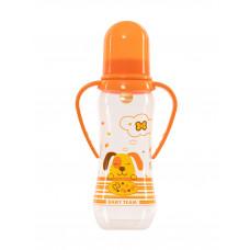Пляшечка для годування з латексною соскою та ручками Baby team, 250 мл, 0 +, арт. 1311 (Помаранчева)
