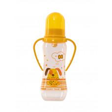 Бутылочка для кормления с латексной соской и ручками Baby team, 250 мл, 0+, арт. 1311 (Желтая)