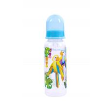Бутылочка для кормления с силиконовой соской Baby team, 250 мл, 0+, арт. 1410 (папугаи)