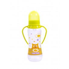 Бутылочка для кормления с силиконовой соской и ручками Baby team, 250 мл, 0+, арт. 1411 (Зеленая)