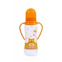 Бутылочка для кормления с силиконовой соской и ручками Baby team, 250 мл, 0+, арт. 1411 (Оранжевая)