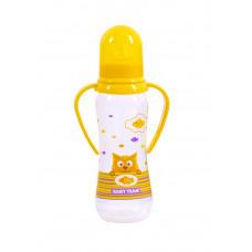 Бутылочка для кормления с силиконовой соской и ручками Baby team, 250 мл, 0+, арт. 1411 (желтая)