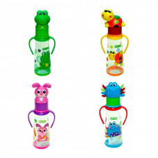 Бутылочка для кормления с силиконовой соской, ручками и крышкой-зверюшкой Baby team, 250 мл, 0+, арт. 1414 (зайчик) (ПОВРЕЖДЕННАЯ УПАКОВКА)