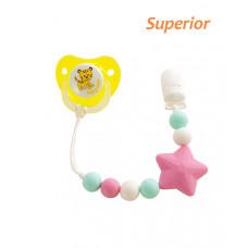 Цепочка для пустышки силиконовая Baby team, 0+, арт. 3390 (розовая звездочка)