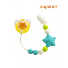 Цепочка для пустышки силиконовая Baby team, 0+, арт. 3390 (голубая звездочка)