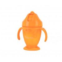 Поильник с силиконовой трубочкой и ручками Baby team, 220мл., 9+, арт. 5011 (оранжевый)