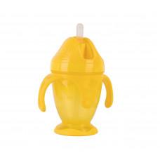 Поильник с силиконовой трубочкой и ручками Baby team, 220мл., 9+, арт. 5011 (желтый)