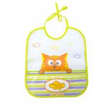 Нагрудник (влагонепроницаемый) Baby team, 6+, арт. 6503 (котик)