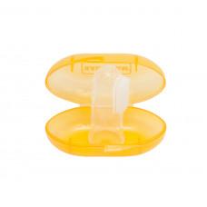 Зубная щетка-массажер силиконовая, с контейнером Baby team, 4+, арт. 7200 (оранжевый)