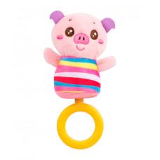 Игрушка мягкая с кольцом-грызунком Baby team, 4+, арт. 8512 (Хрюша)
