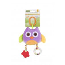 Мягкая многофункциональная игрушка-прорезыватель Baby team, 4+, арт. 8533 (сова фиолетовая)