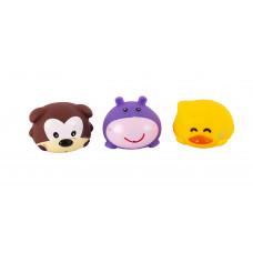 """Набор игрушек для ванны """"Забавные зверушки"""", 3 шт. Baby team, 6+, арт. 9022 (набор с фиолетовым бегемотиком)"""